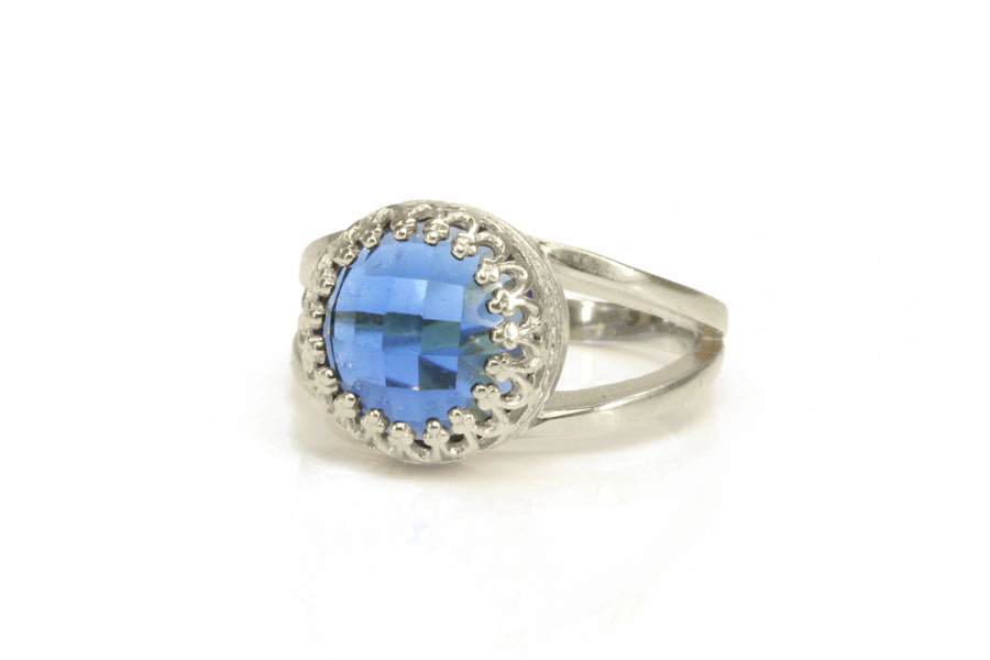 Round Blue Sapphire Ring in Sterling Silver