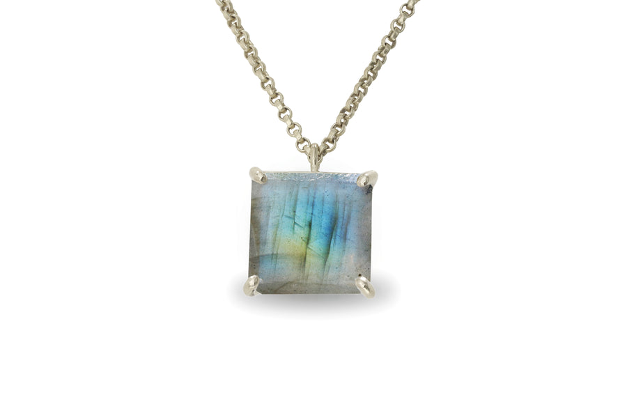 Unique Square Labradorite 14k Gold Pendant Necklace