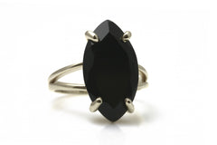 Flattering Gem Ring - Elegant Black Onyx Ring with 925 Sterling Silver Double Band - Rings for Women Sterling Silver - Customizable - Engraving Available