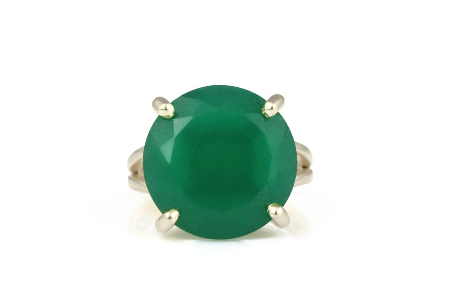 Customized Gem Rings for Women - Green Onyx in 925 Sterling Silver Double Band Sizes 3-12.5 - Handmade Customized Rings - Custom Engrave Available