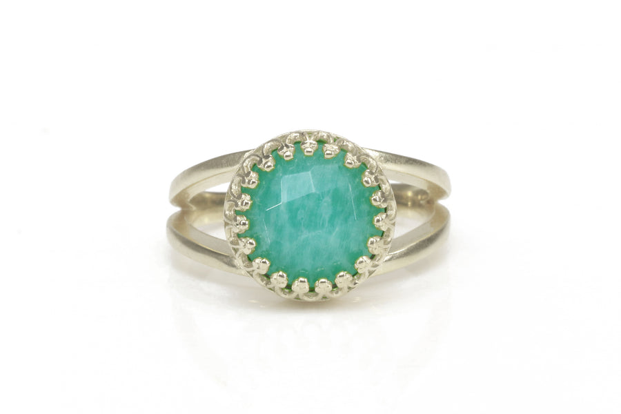 Bold Gemstone Sterling Silver Ring - 3.87-Carat Natural Green Amazonite in 925 Sterling Silver Jewelry Ring - Handmade Fine Jewelry for Women