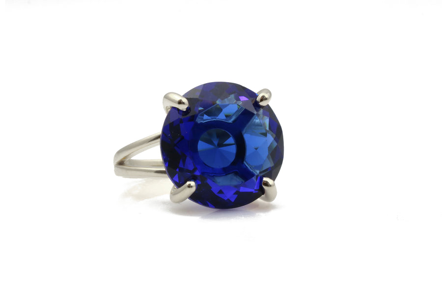 Classic Sterling Silver Ring Custom Cut Sapphire Jewelry