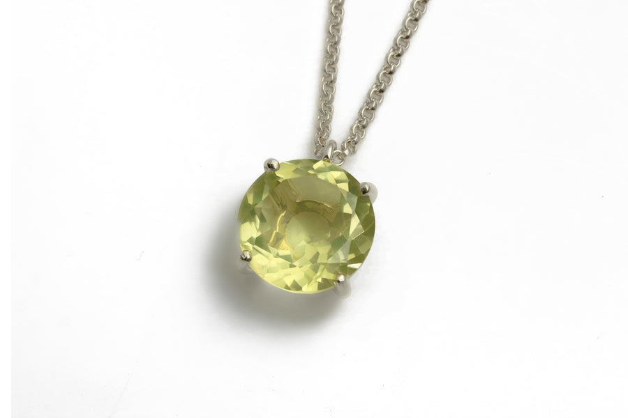 Yellow Quartz Round Crystal 14k Gold Filled Necklace