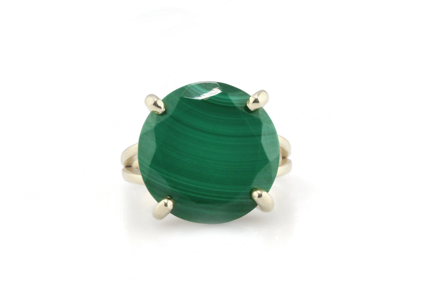 Round Cut Malachite Stone Ring in 925 Sterling Silver