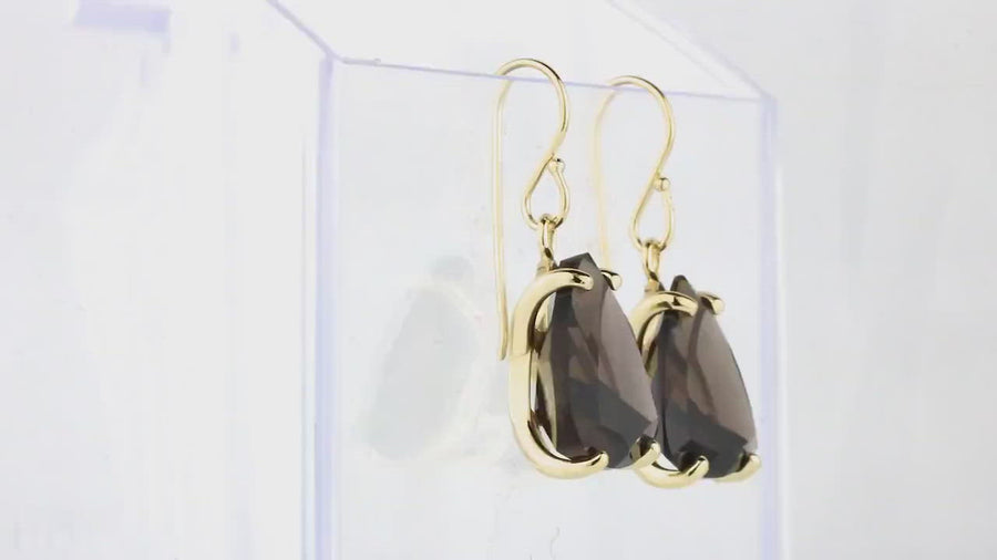 Statement Earrings for Women - Oval Smoky Quartz in Dangling 14k Gold Earrings - Handmade Jewelry for Everyday Fashion, Anniversary Gifts for Her