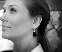 Black Onyx Gem Earrings in 14k Gold - Fine Jewelry for Any Occasion, Handcrafted Black Onyx Jewelry for Women