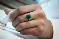 925 Sterling Silver Emerald Jewelry for Women - Artisan May Birthstone Ring - Green Jewelry for Birthdays, Anniversaries and Personal Wear