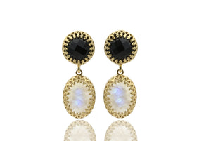 Gold dangle earrings,black onyx earrings,moonstone earrings,long earrings,statement earrings,vintage earrings