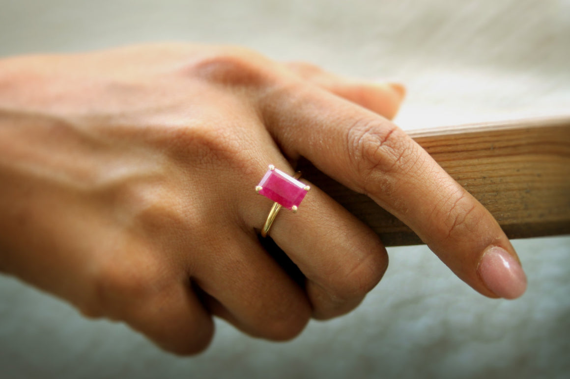 14k gold ring,Ruby ring,cocktail ring,delicate ring,rectangle ring,small stone ring,promise ring,July birthstone ring