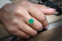 14K Jewelry for Women with Green Onyx Gemstone - May Birthstone Rings for Women - Handmade Onyx Ring for Any Occasion