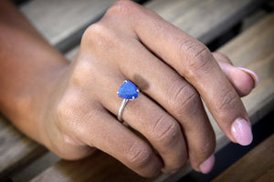 Lapis lazuli ring,healing ring,energy ring,good luck ring,silver ring,trillion ring,September ring