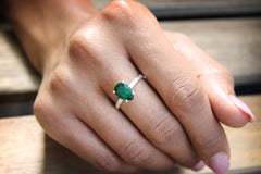 Agate Emerald Ring in 925 Sterling Silver - Adorable Handmade Jewelry for Any Occasion - Formal, Casual, Boho Jewelry for Women