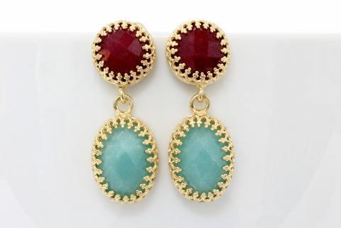 gold ruby earrings,gold earrings,vintage earrings,dangle earrings,amazonite earrings,bridesmaid earrings