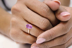 14k Gold Rings for Women - Oval Amethyst in 14k Rose Gold - Artisan January Birthstone Rings and Purple Jewelry for Women