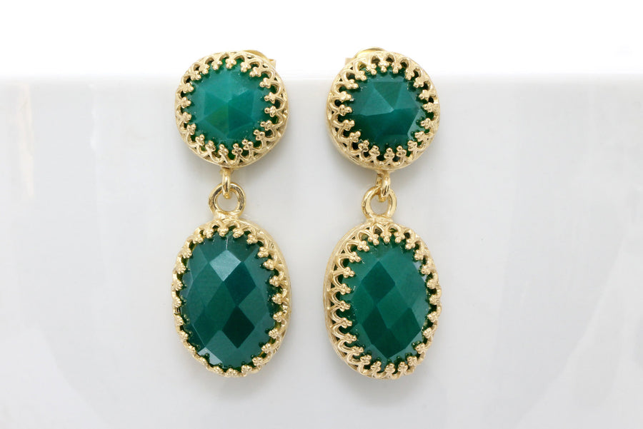 green onyx dangle earrings,gold earrings,gemstone earrings,faceted stone earrings,green jewelry
