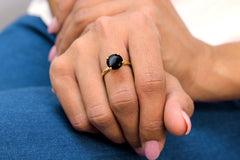 Ladies Rings - Round Onyx Ring in 14k Gold - Bold Black Rings for Women - Gemstone Ring for Occasional and Daily Wear