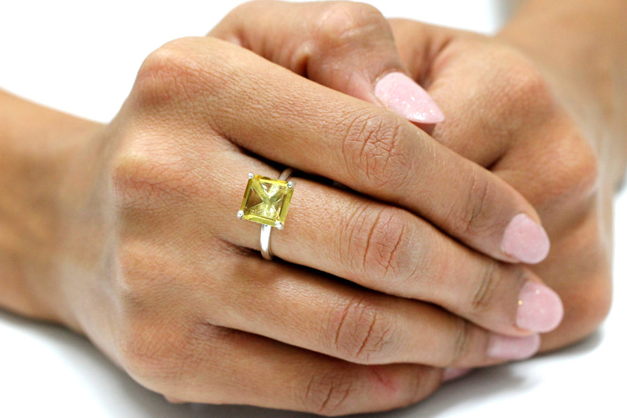 Handmade Lemon Quartz in 925 Sterling Silver - Yellow Ring for Gifts and Personal Wear Sizes 5-11 Available