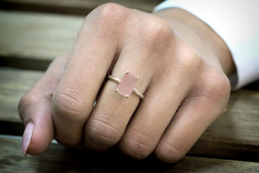 Rose Quartz Ring in 14k Rose Gold - 14k Engagement Ring, Stackable Rings, Gift Rings, Wedding Rings for Women