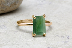 Aquamarine ring,March birthstone ring,gemstone ring,rectangle ring,rose gold ring,solitaire ring,cocktail ring