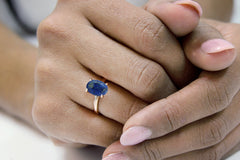 Rose Gold Rings for Women - Lapis Lazuli in 14K Rose Gold - Dainty Rings, Statement Rings and Gifts Jewelry