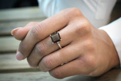 smoky quartz ring,silver ring,stacking ring,stackable rings,square ring,gemstone ring,prong ring,cocktail ring,vintage ring