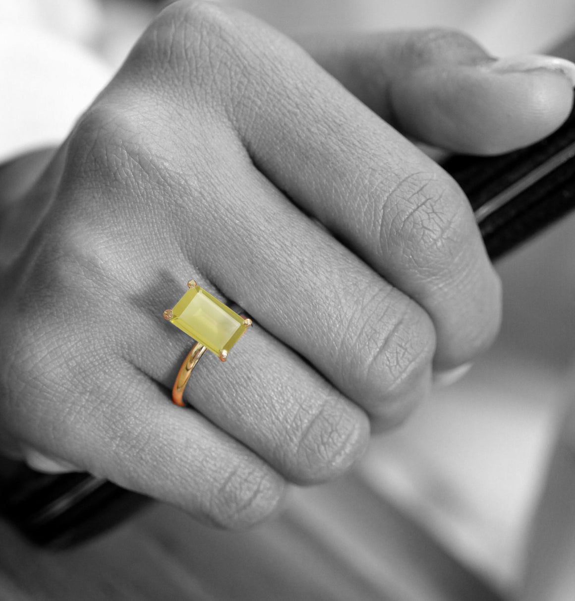 Lemon quartz ring,reflective ring,yellow quartz ring,gold ring,rectangle ring,stacking ring,long ring,thin band,stack ring