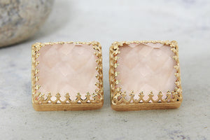 Love rose quartz earrings,gemstone earrings,gold earrings,stud earrings,post earrings,gift for her,pink earrings