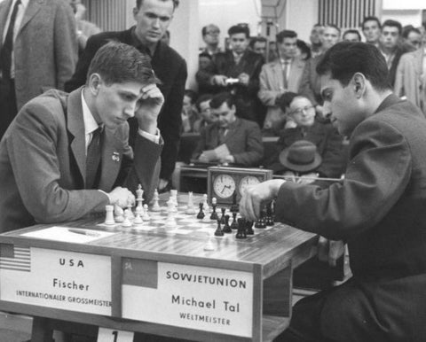bobby fischer playing in chess championship chess clock chess board chess player