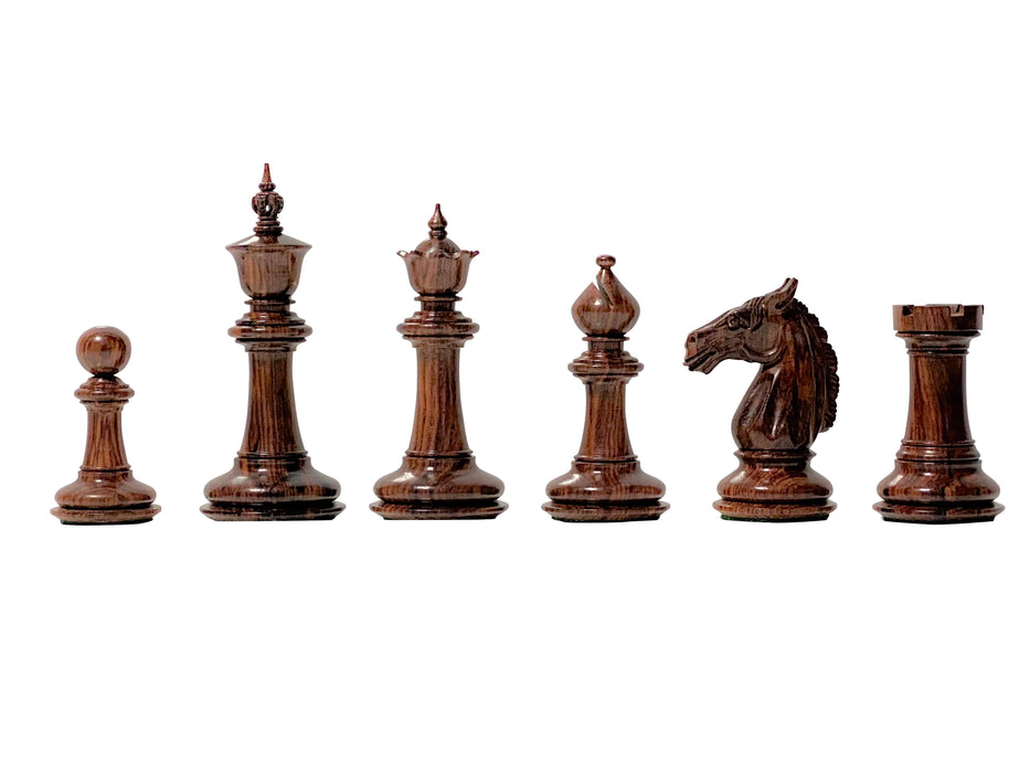 "4.25"" Bath Design Rosewood and Boxwood Prestige Chess Pieces & Case - Official Staunton™"