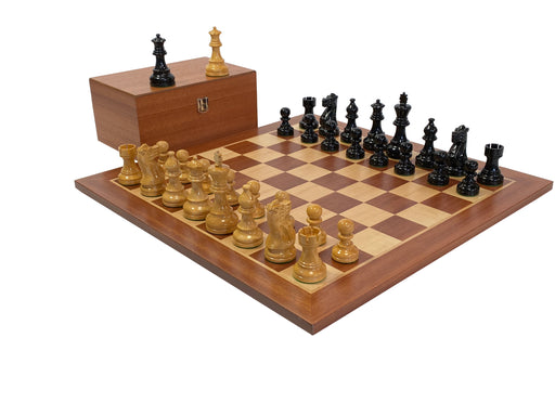 Atlantic Lacquered Natural Black & Mahogany Chess Set - Official Staunton™