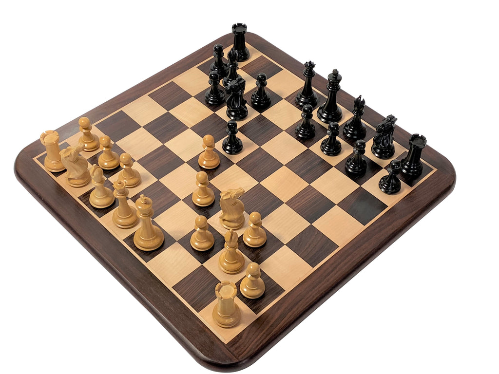 "3.5"" Championship Salvador Ebony Solid Rosewood Chess Set & Box - Official Staunton™"