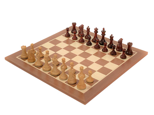 "3.5"" Old English Padauk Mahogany Chess Set - Official Staunton™"