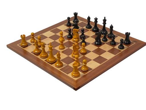 "3.5"" Antique Old English Chess Pieces Mahogany Chessboard & Box - Official Staunton™"