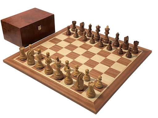 Acacia Russian Chess Pieces Mahogany Chessboard & Box - Official Staunton™