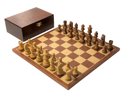 "14"" Classic Mahogany Acacia and Boxwood Chess Set - Official Staunton™"