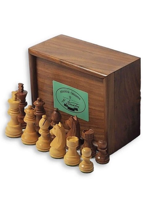 Acacia Club Classic Chessmen & Solid Wood Slide Lid Box - Official Staunton™