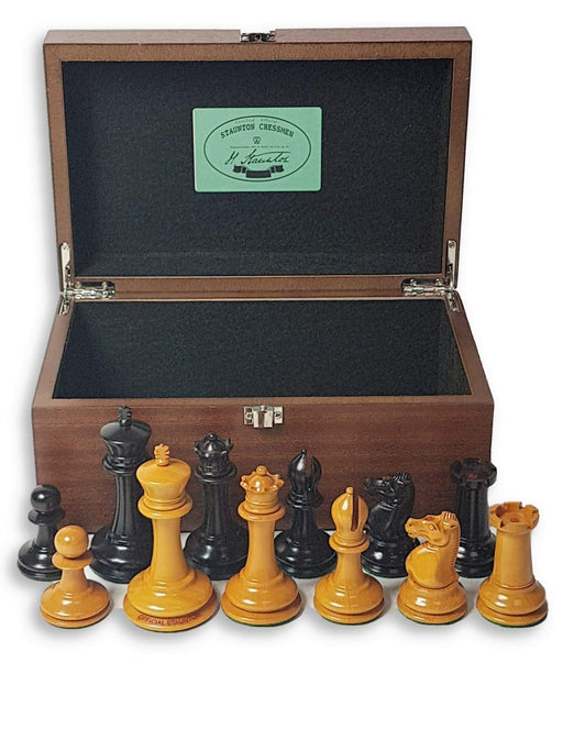 3.5 Inch DropJaw Antique Ebony Chess Set & Sapele Box - Official Staunton™