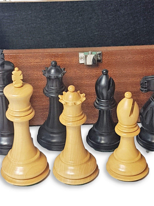 "1925 Edition 3.75"" Boxwood Chess Pieces & Mahogany Box - Official Staunton™"