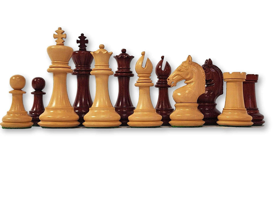 4.6 Inch Sea Horse Rosebud and Boxwood Chess Pieces - Official Staunton™