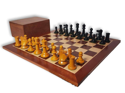 1962 Varna Antique Mahogany Acacia Chess Set Combination - Chess Set