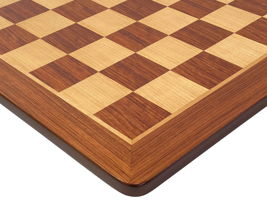 "19"" Padauk and Maple Rounded Edge Chess Board - Official Staunton™"