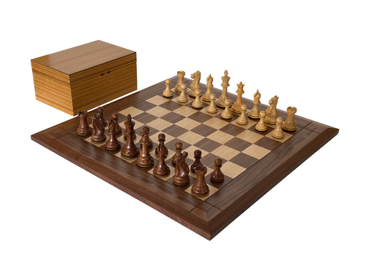 "3.75"" Stallion Acacia Wide Border Walnut Chess Set & Box - Official Staunton™"