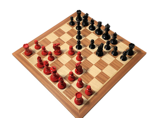 Red Prestige Mahogany Chess Set - Official Staunton™