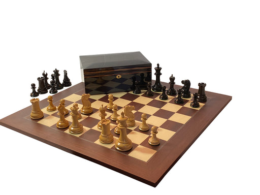 "1851 Morphy 4.4 ""Boxwood, Ebony & Montgoy Makassar Chess Set - Official Staunton™"