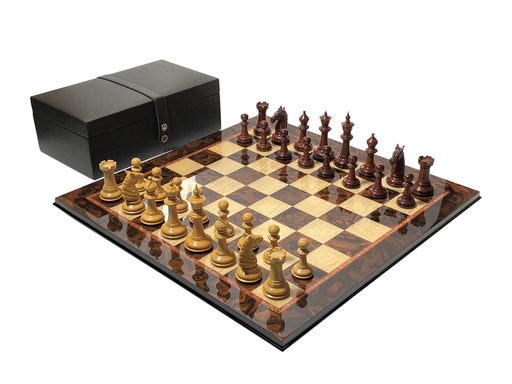 Bath Design Rosewood Italian Walnut Chess Set & Box - Official Staunton™