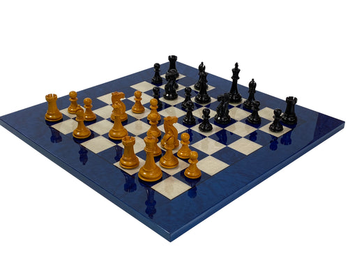 Antique English Chess Pieces & Italian Blue Deluxe Chess Board