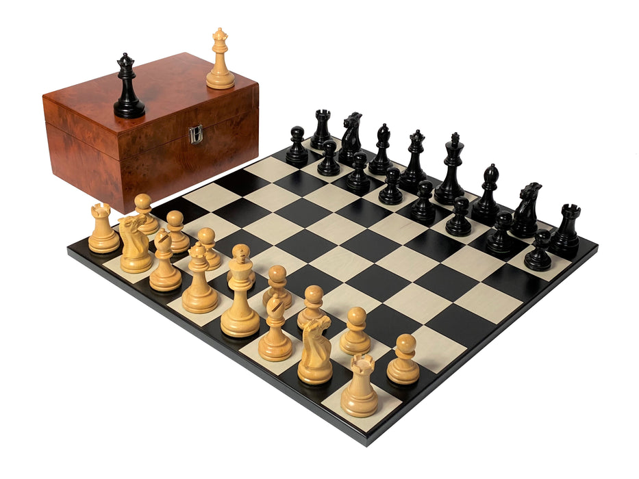 Contemporary Anegre Professional Chess Set & Burl Root Box - Official Staunton™