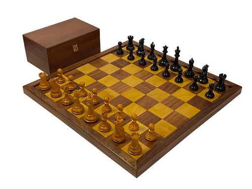 Antiqued Old English Solid Wood Chess Set & Box - Official Staunton™