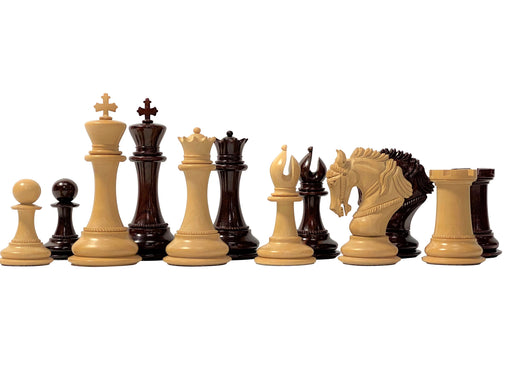 "4.5"" King Arthur Limited Edition Sandalwood and Aged Boxwood Chess Pieces - Official Staunton™"