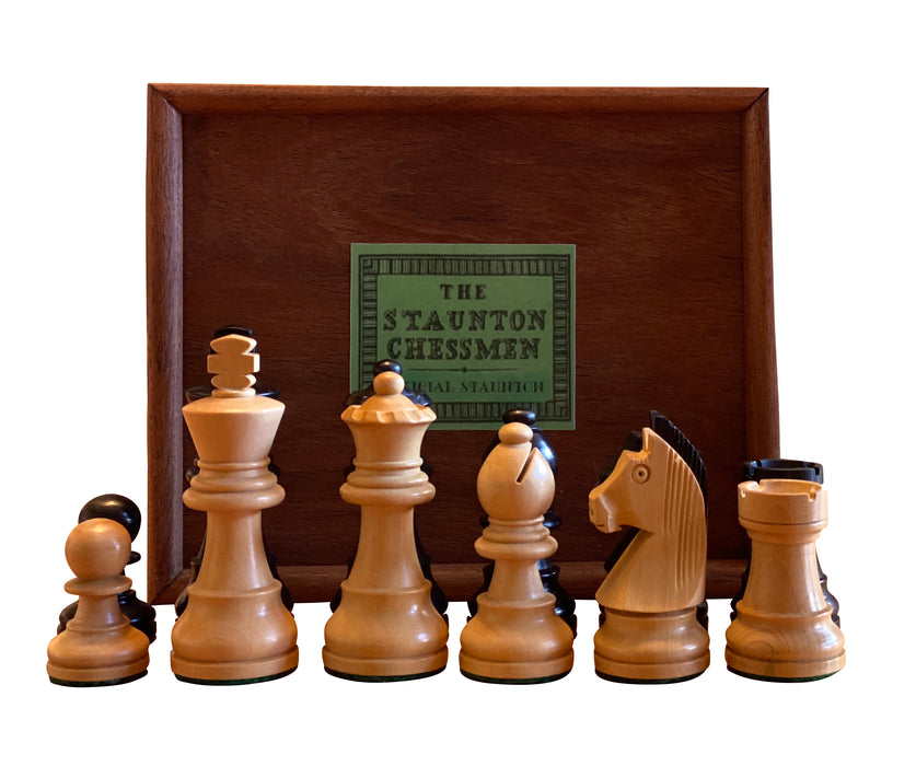 Classic Ebonised Chess Pieces & Acacia Wood Slide Lid Box - Official Staunton™